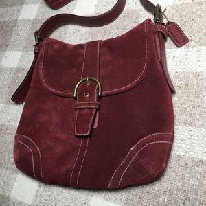 Coach Bags - Coach suede soho buckle wine crossbody bag purse